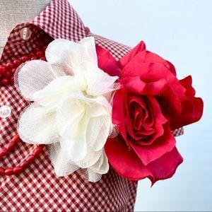 Ann Taylor Loft Red and Cream Gingham Shirt